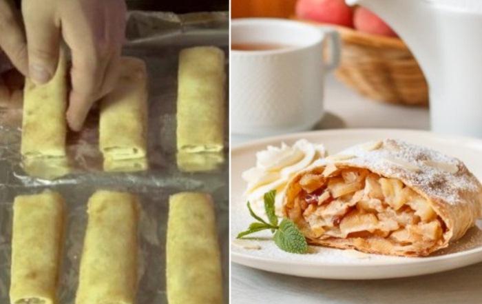 Ленивый штрудель из лаваша - быстрый и вкусный десерт!