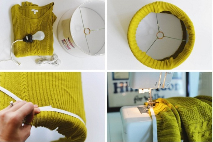 Как сделать торшер из старого свитера: пошаговая инструкция.