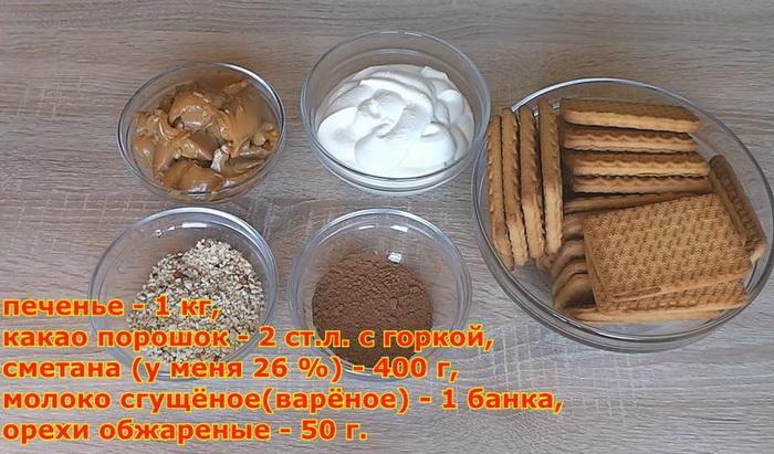 Торт без выпечки: Ингредиенты для приготовления.