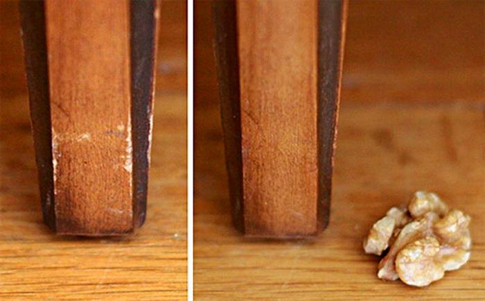 Грецкий орех для удаления царапин со светлой мебели.