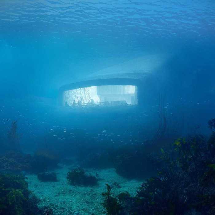 Панорамное окно подводного ресторана.