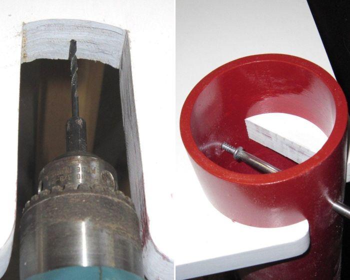 Для состыковки деталей в углах столешницы и в верхней части трубы делают прорези.