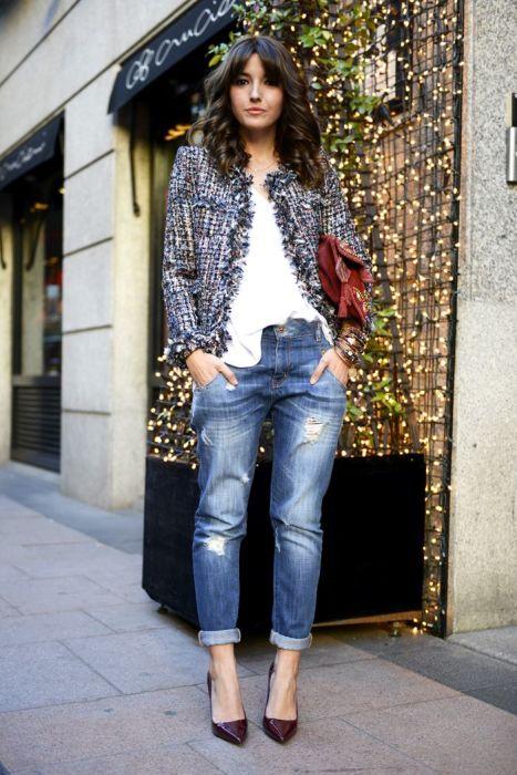 Жакет с джинсами выглядит актуально. /Фото: i.pinimg.com