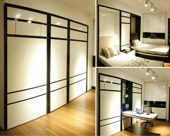 Многофункциональный гарнитур позволяет превратить комнату в спальню, кабинет, или полностью освободить пространство.