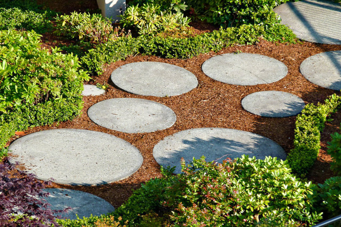 Дорожка, сочетающая мульчу и камень, более износоустойчивая. /Фото: i2.wp.com