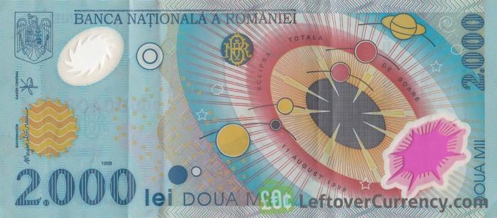 Румынская банкнота 2000 лей с окошком для наблюдения за солнечным затмением. /Фото: leftovercurrency.com
