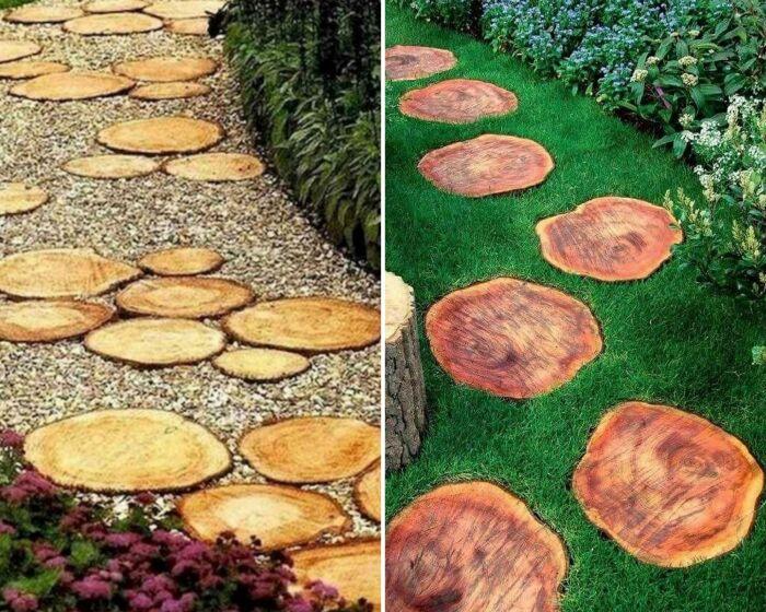 Спилы дерева гармонируют и с травой, и с гравием.