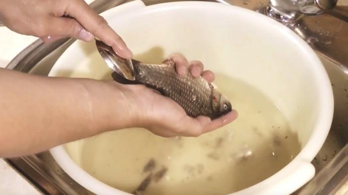 Чистка рыбы ложкой, при которой чешуя не разлетается. /Фото: sun9-29.userapi.com