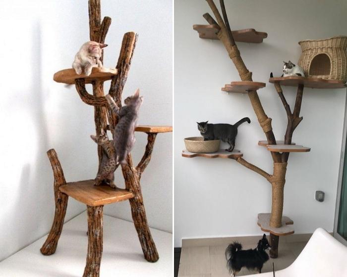 Кошкам понравится лазить по дереву.