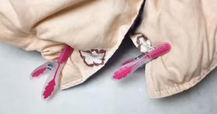 Пара биндеров или прищепок – и одеяло заправляется за секунды.