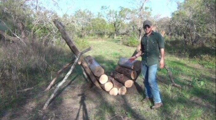 Костер, который горит 14 часов без присмотра, и самодельная печь на природе