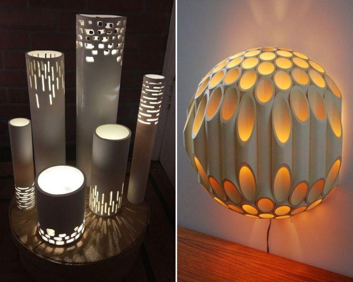 Немного фантазии, и получаются оригинальные светильники.
