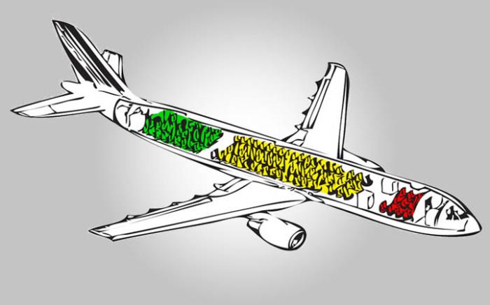 Безопасные места в самолете. /Фото: ourtripguide.com