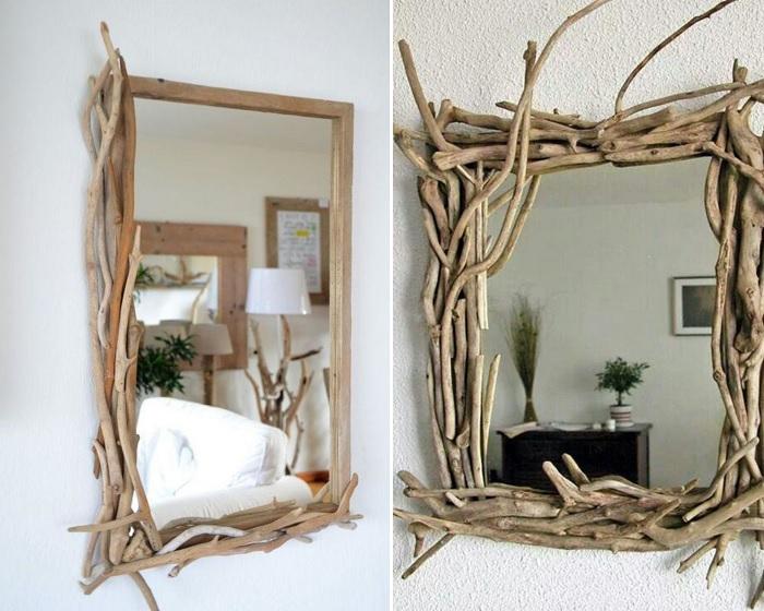 Ветки – прекрасное обрамление для зеркал.