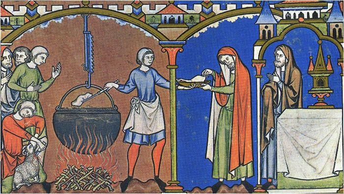Средневековая трапеза. /Фото: i.pinimg.com