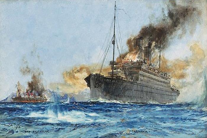 Картина «Битва океанских лайнеров» (настоящей и «поддельной» Карманий) художника Чарльза Диксона (Charles Dixon). /Фото: oceanlinersmagazine.com