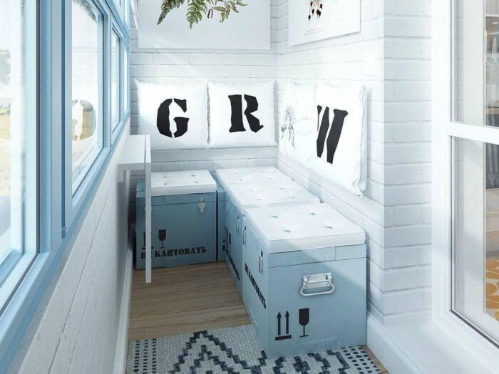 Отличное практичное решения для совмещения зоны отдыха с местом для хранения. /Фото: i.pinimg.com