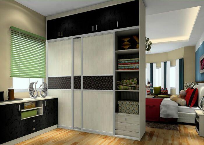 Шкаф справляется с ролью разделителя не хуже стены. /Фото: i.pinimg.com