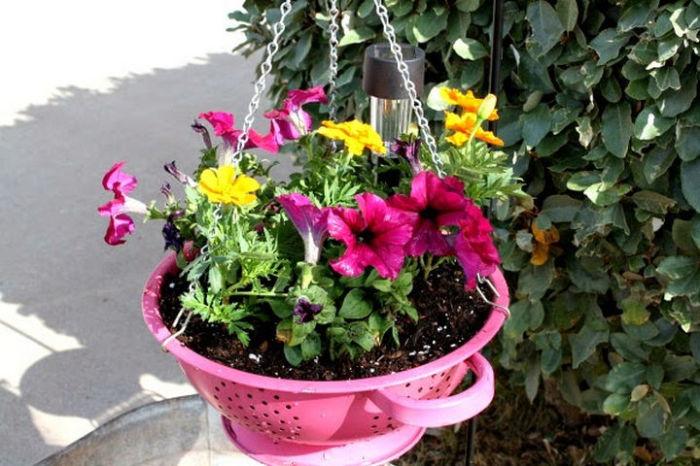 Дуршлаг сгодится и в качестве цветочного горшка. /Фото: cdn-0.winkgo.com