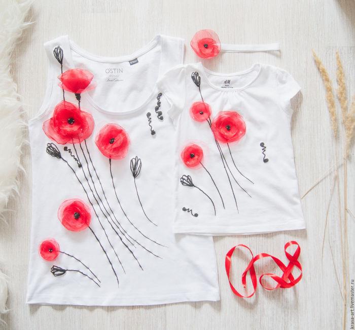 Таким способом можно украсить не только футболку, но и куртку, брюки или платье. /Фото: i.pinimg.com
