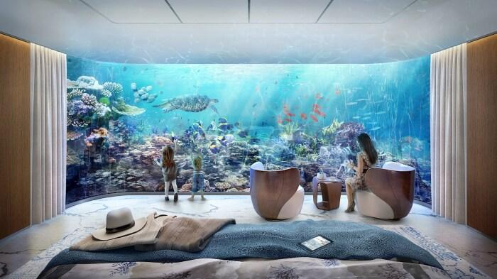 Нижний уровень – самый эффектный, с видами на подводные пейзажи. /Фото: homelord.com