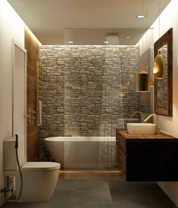 Камень – отличное решение для отделки ванной комнаты. /Фото: i.pinimg.com