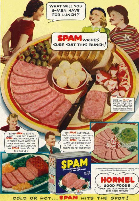 Рекламная кампания ветчины SPAM была очень назойливой. /Фото: thumbs-prod.si-cdn.com