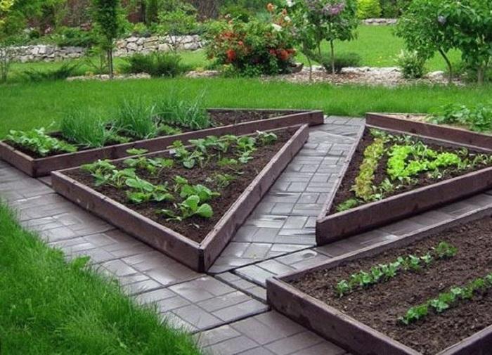 Сочетание грядок треугольного и прямоугольного формата помогает экономично использовать площадь. /Фото: retete-usoare.info