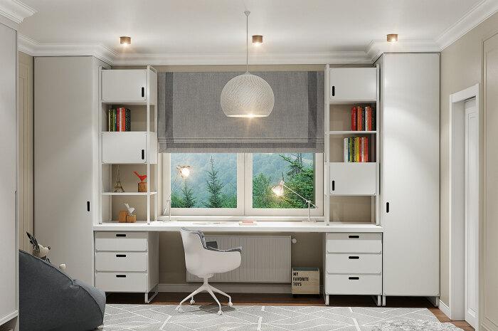 Рабочее место у окна позволяет полностью использовать простенки под системы хранения. /Фото: mir-s3-cdn-cf.behance.net