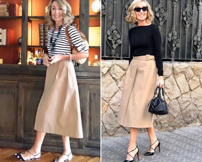Одна и та же юбка легко вписывается и в элегантно-романтический, и в повседневный образы.