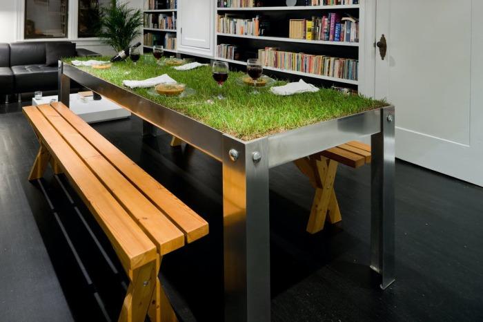 С таким оригинальным столом можно представить, что ты обедаешь на природе, как на пикнике, только с большим комфортом. /Фото: archinect.imgix.net