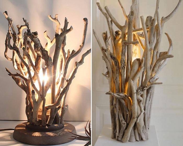 Светильники из дерева выглядят самобытно.