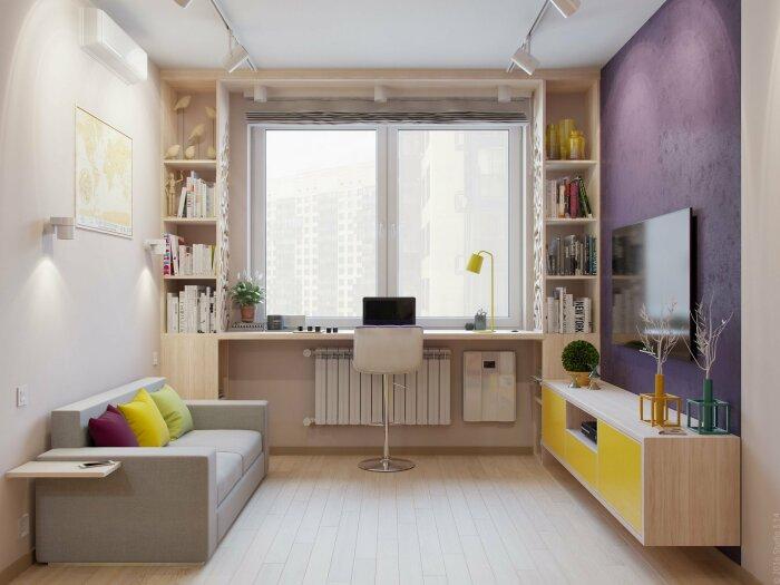 Использование окна в интерьере позволяет освободить пространство комнаты. /Фото: mykaleidoscope.ru