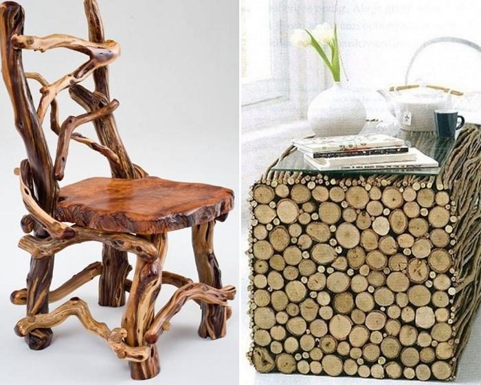 Мебель из веток привлекает необычным дизайном.