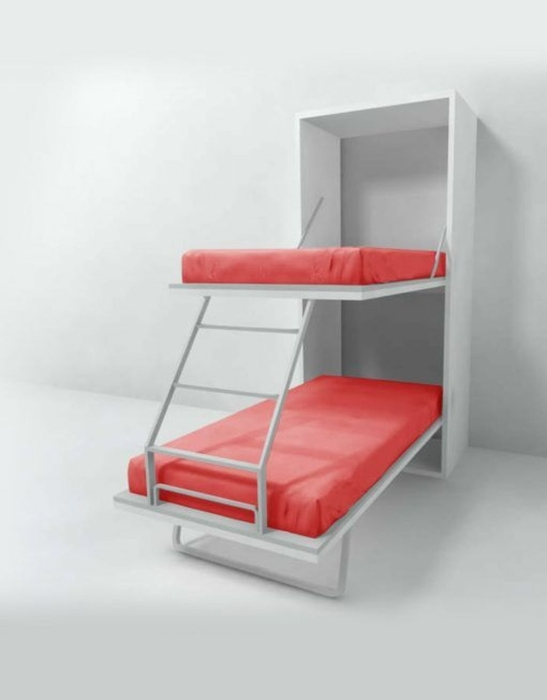 Двойная кровать, которая с легкостью прячется в шкаф. /Фото: lovelyhomy.com