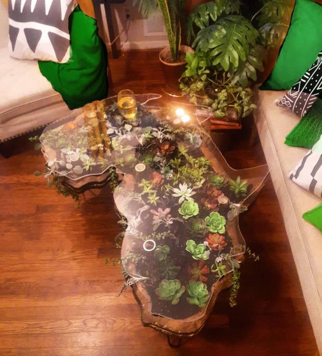 «Цветущие» столы: оригинальный способ вписать суккуленты в интерьер