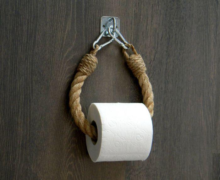 Удобное и эксклюзивное оформление для туалетной комнаты. /Фото: i.pinimg.com