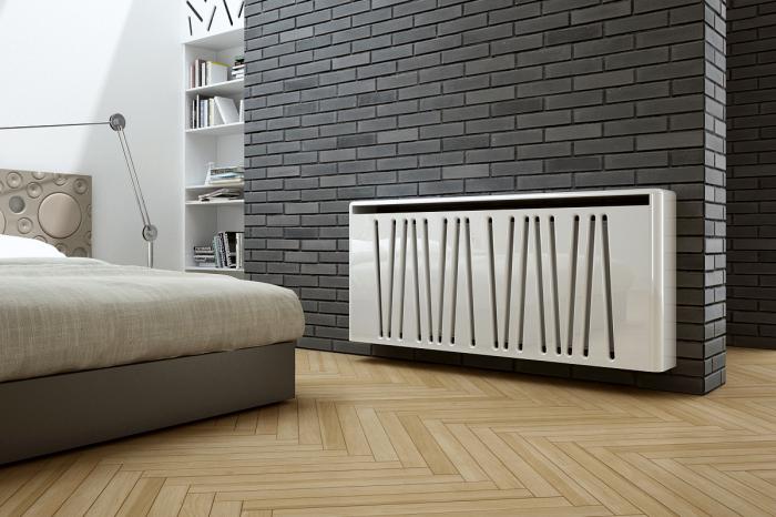 Металлический экран для батареи в стиле минимализма. /Фото: trendy-living.cz