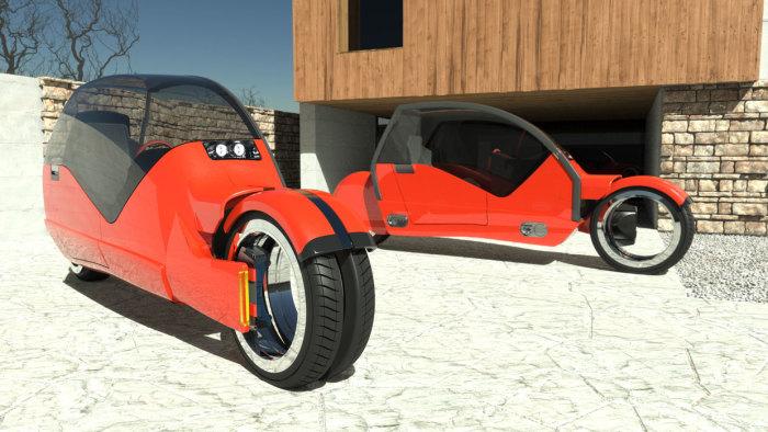 По нажатию копки автомобиль «распадается» на 2 мотоцикла. /Фото: argodesign.com