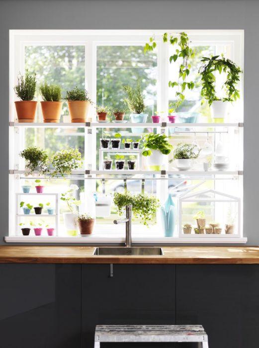 Горшки с цветами — оригинальное и практичное оформление окна на кухне. /Фото: i.pinimg.com