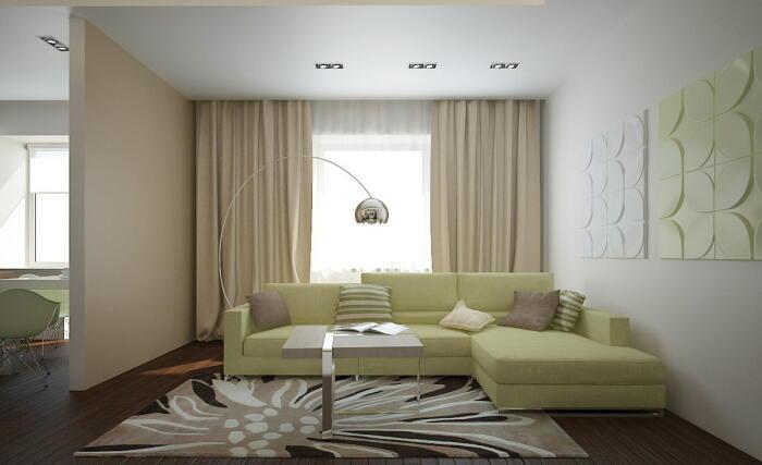 Шторы, ниспадающие «из потолка» удлиняют высоту стен. /Фото: design-homes.ru
