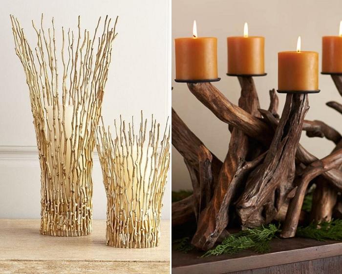 Ветки органично дополняют свечи.
