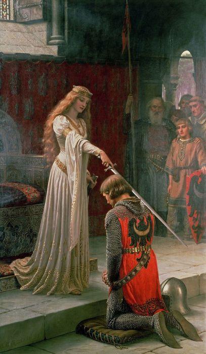В Средние века подушки подкладывали под колени. Церемония посвящения в рыцари. /Фото: upload.wikimedia.org