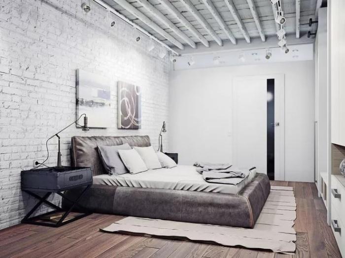 Спальня в стиле лофт. /Фото: media.dom-i-remont.info