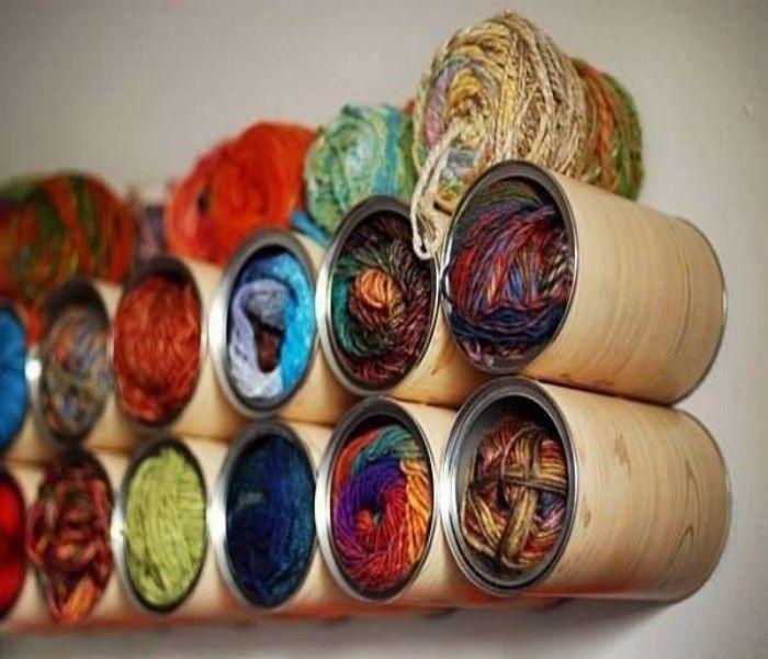 Удобная конструкция, которая значительно облегчит организацию материалов для рукоделия. /Фото: i.pinimg.com