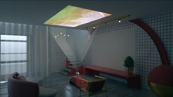 Gazer легко выведет изображение хоть на стены, хоть на потолок. /Фото: youtube.com/watch?v=u3qXD_Bs5S4