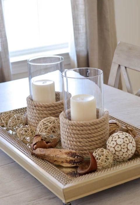 Подсвечники, задекорированные веревкой — это стильно и душевно. /Фото: i.pinimg.com