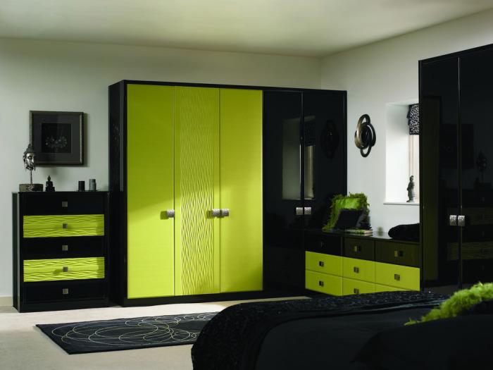 Элегантное сочетание светло-зеленого и черного делает комнату яркой и светлой. /Фото: cvet-v-interere.eu