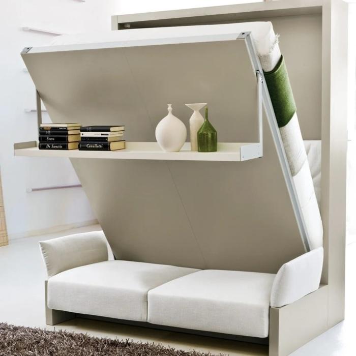 Настенная кровать — оптимальный выбор для однокомнатной квартиры. /Фото: avatars.mds.yandex.net