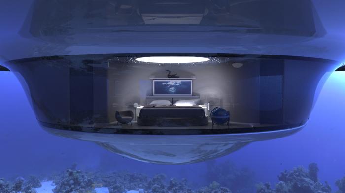 Нижний уровень UFO 2.0 позволяет ощутить себя капитаном Немо. /Фото: jetcapsule.it